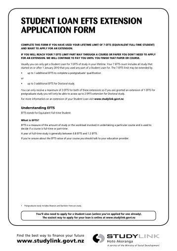 STUDENT LOAN EFTS EXTENSION APPLICATION FORM - StudyLink