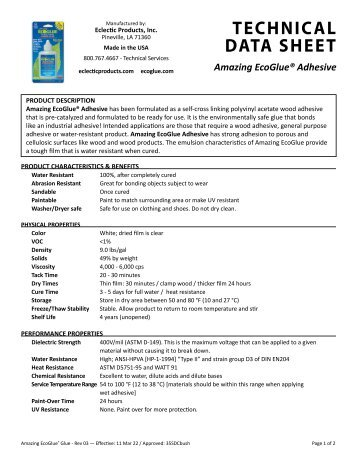 TECHNICAL DATA SHEET Amazing EcoGlue® Adhesive - Bio-Safe