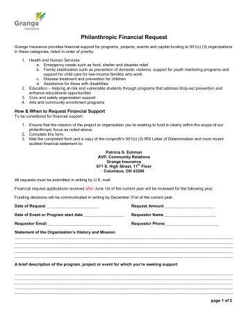 Philanthropic Financial Request Form - Grange Insurance