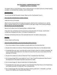 NELSON-DENNY COMPREHENSION TEST ADMINISTRATION ...