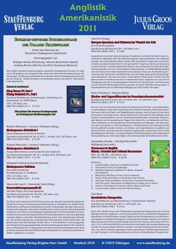 Anglistik Amerikanistik 2011 - Stauffenburg Verlag