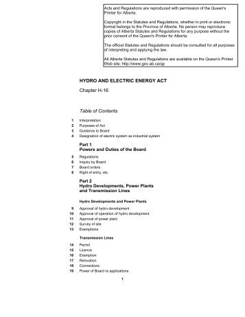 HYDRO AND ELECTRIC ENERGY ACT (last updated June 1, 2003)
