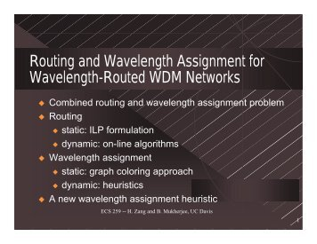 Routing and Wavelength Assignment for Wavelength ... - UC Davis