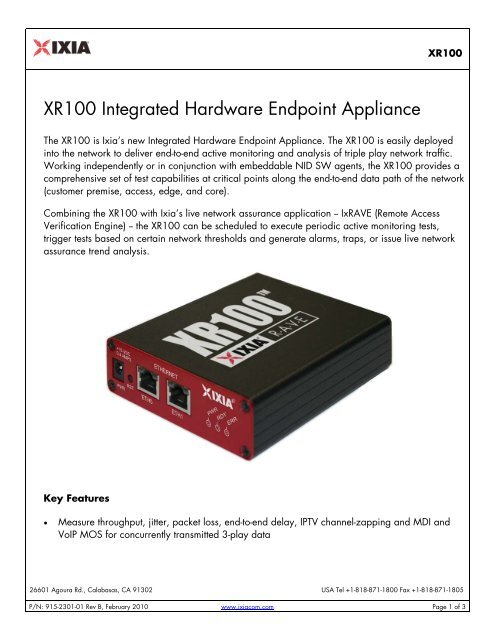 XR100 Integrated Hardware Endpoint Appliance - Ixia