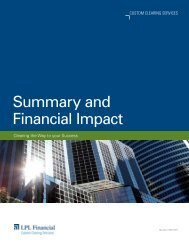 Summary and Financial Impact - LPL Financial