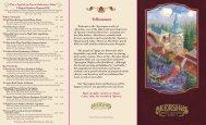 Dinner Menu - Kingdom Magic Vacations