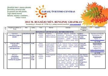 2012 m. rugsėjo mėnesio renginiai - Zarasų švietimo centras