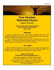 7:00 PM Worship - First Christian Reformed Church