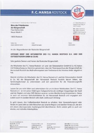 Offener Brief der Mitarbeiter des F.C. Hansa Rostock - Rostock-Heute