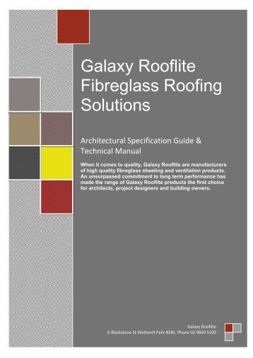 Architect Booklet (PDF 2MB) - Galaxy Rooflite® Website