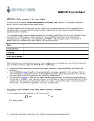 NSERC Industrial Postgraduate Scholarship (IPS) Progress Report