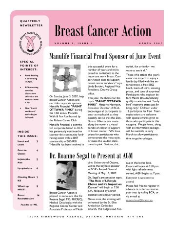BCA Newsletter March 2007 - Breast Cancer Action Ottawa