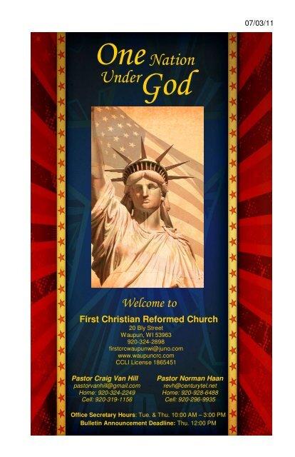 OneNation Under God - First Christian Reformed Church