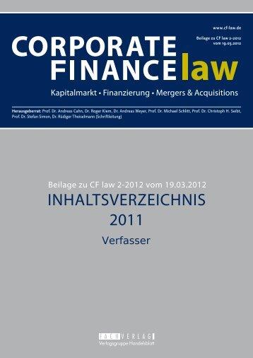 Verfasserregister 2011 - CORPORATE FINANCE fachportal