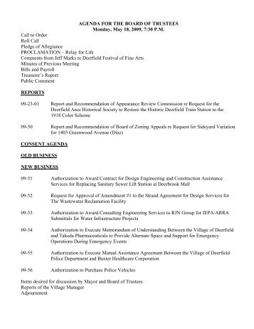 AGENDA FOR THE BOARD OF TRUSTEES Monday, May 18, 2009 ...