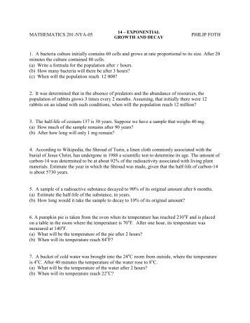 Printables Exponential Growth And Decay Worksheet exponential growth worksheets for school kaessey math 120 lesson 4 8 decay and other