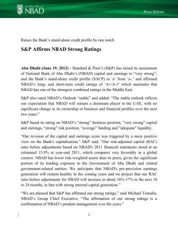 S&P Affirms NBAD Strong Ratings - National Bank of Abu Dhabi