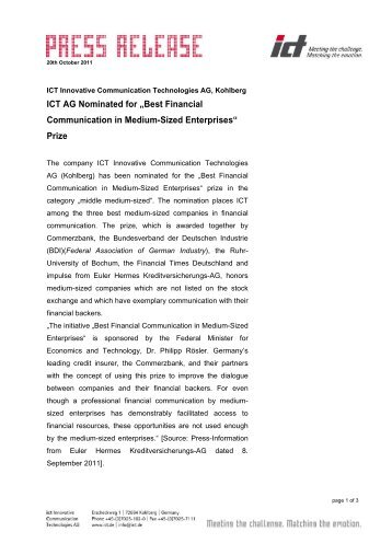 Pressemeldung (pdf) - ict AG