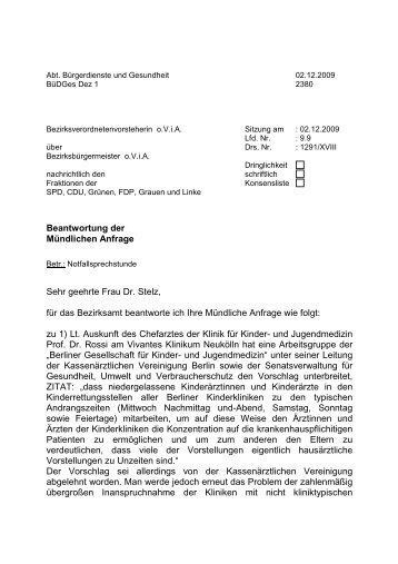 Beantwortung der Mündlichen Anfrage Sehr geehrte Frau Dr. Stelz ...