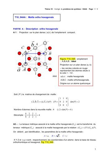 Corrigé - Cours et Exercices corriges : Cristallographie, Diffraction