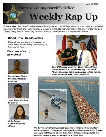 April 19, 2013 - Monroe County Sheriff's Office