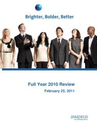 Full Year 2010 Review - Investor relations at Amadeus
