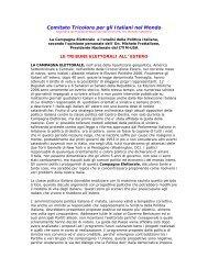 le tribune elettorali all' estero - Comitato Tricolore per gli Italiani nel ...