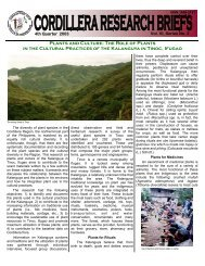 Research Brief 4th Qrt 2003 - Cordillera Studies Center - UP Baguio