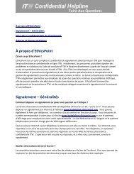 Foire Aux Questions - EthicsPoint