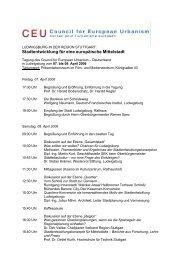 Tagungsprogramm als Druckversion - Council for European Urbanism