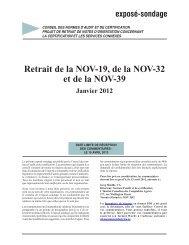 Exposé sondage Retrait de la NOV-19, de la NOV-32 et de la NOV-39