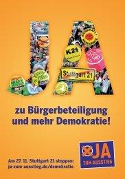 zu Bürgerbeteiligung und mehr Demokratie! - JA zum Ausstieg