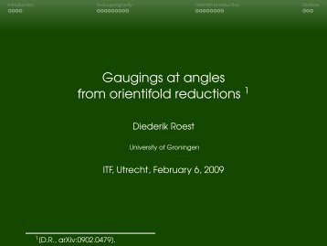 Gaugings at angles from orientifold reductions =1[D.R., arXiv ...