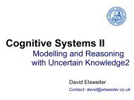 Cognitive Systems II Contact: david@elsweiler.co.uk