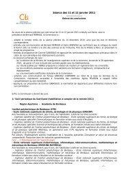 Relevé de conclusions des 11 et 12 janvier 2011 - Commission des ...