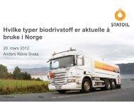Hvilke typer biodrivstoff er aktuelle å bruke i Norge