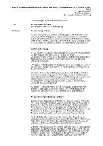 Die versteckten Moscheen in Hamburg… - Reinig, Joachim