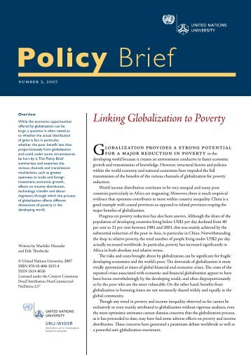 Linking Globalization to Poverty - United Nations University