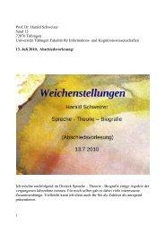 Prof. Dr. Harald Schweizer Sand 13 72076 Tübingen Universität ...