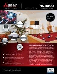 Mitsubishi HD4000U WXGA Projector - LCD and DLP Projectors