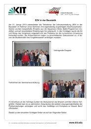 Bericht zum Seminar für Baustatik - am Institut für Baustatik - KIT