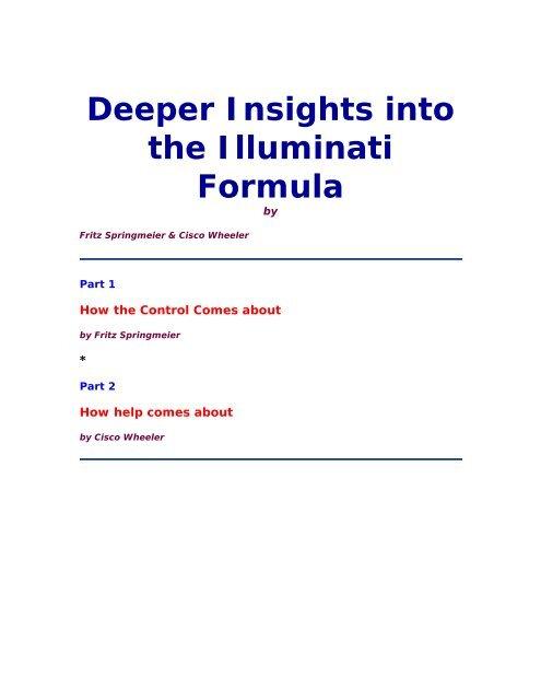 Deeper Insights Into The Illuminati Forumula By Fritz