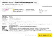 Preisliste Agentur für Gelbe Seiten regional 2012