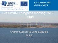 GORWIND progress meeting: WP3 birds