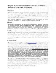 Reglamento para el Uso de las Comunicaciones Electrónicas - UPRM