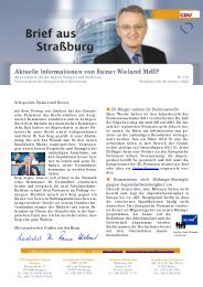 Aktuelle Informationen von Rainer Wieland MdEP
