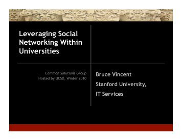 Leveraging Social Networking Within Universities - Common ...