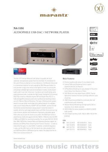 NA-11S1 AUDIOPHILE USB-DAC / NETWORK PLAYER - Marantz