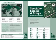 Specialty Solders & Alloys Technical Information