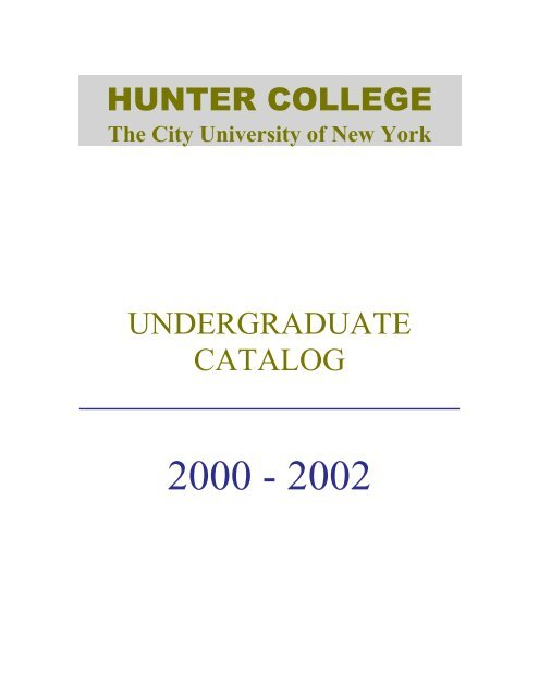 ferpa form hunter college  hunter college undergraduate catalog - Office of the ...